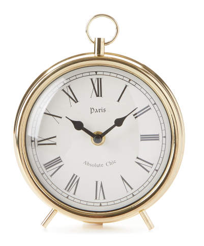 Gold Metal Tabletop Clock -