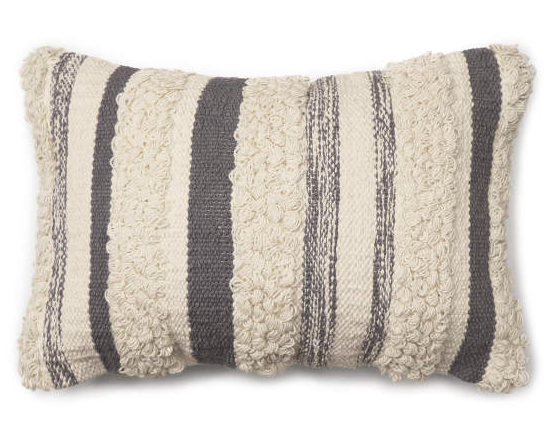 Bria Gray Stripe Throw Pillow (13X18) -