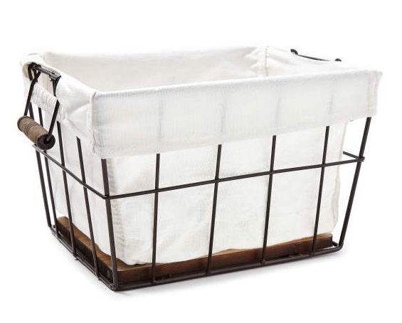 Small Grid Wire & Wooden Basket with Canvas Liner -
