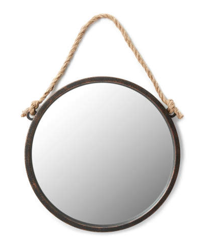 "Round Hanging Wall Mirror with Rope (19"") -"