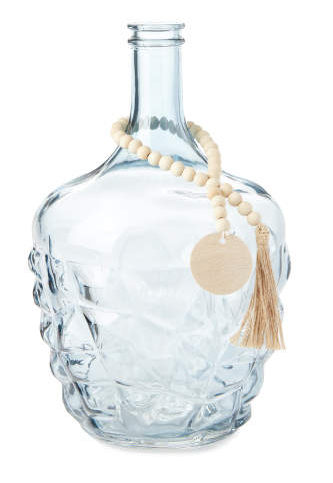 Smoky Finish Embossed Glass Bottle with Beads -