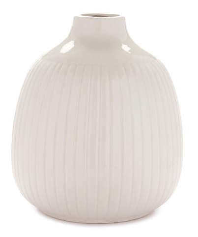 Cream Ribbed Ceramic Vase -