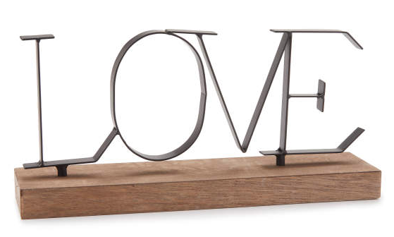 """Love"" Metal & Wood Tabletop Decor -"
