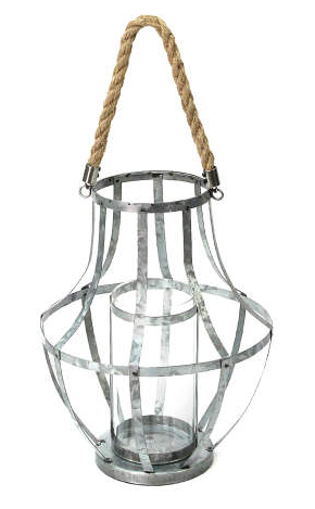 Silver Galvenized Lantern -