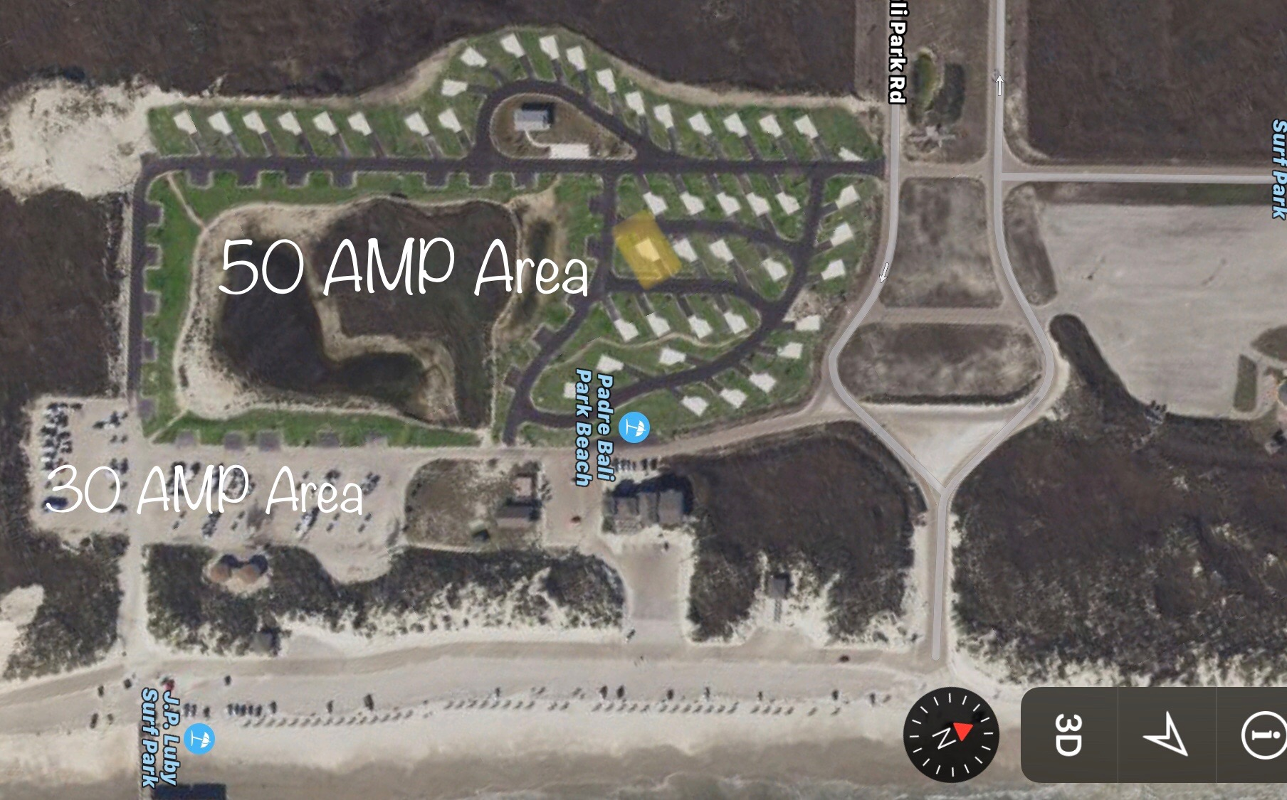 The highlighted site is site 16 which is the site we stayed in.
