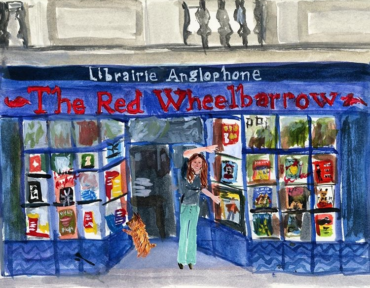 The Red Wheelbarrow Bookstore at 9 rue de Médicis in the Latin Quartier of the sixth arrondissment. The reflection of the beautiful Jardin Luxembourg opposite can be seen in the windows. - Image by Jackie Clark Mancuso.
