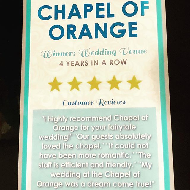 "This just in.... ""Couple's Choice"" award from Wedding Wire & the Knot for the 4th year in a row!  Over 50 ""5 Star"" Reviews 🍾 #chapeloforange #orangecountyweddings #orangecountyweddingvenue"