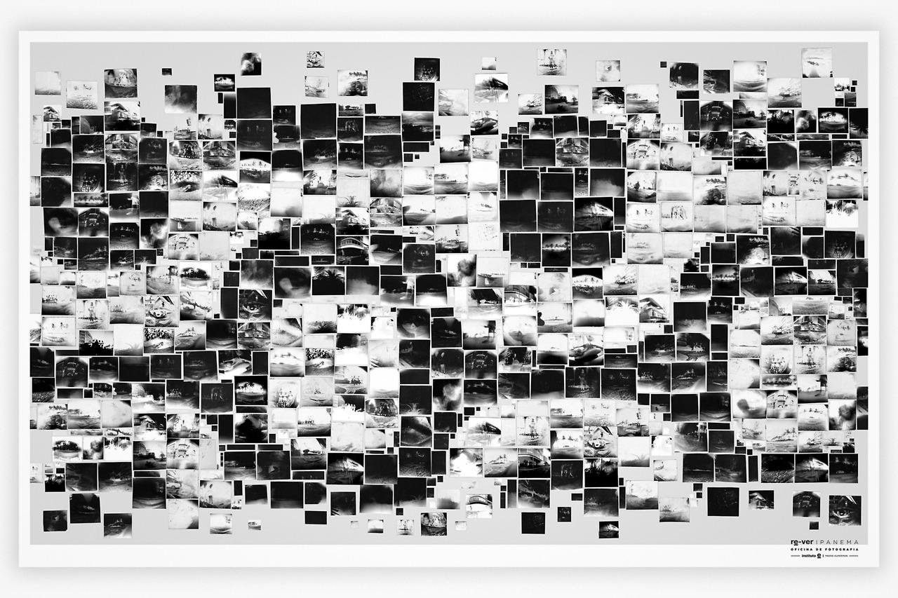 O painel final, criado por Pedro Kuperman, com um mosaico de imagens criadas pelos alunos da oficina, formando o emblemático calçadão de Ipanema - bairro onde moram e estudam as crianças.   The final panel, created by Pedro Kuperman, with a mosaic of images created by the students of the workshop, forming the emblematic boardwalk of Ipanema - neighborhood where children live and study.