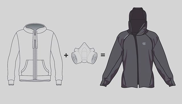 The 1st hoodie with N95 particulate filtration protection incorporated into its design.