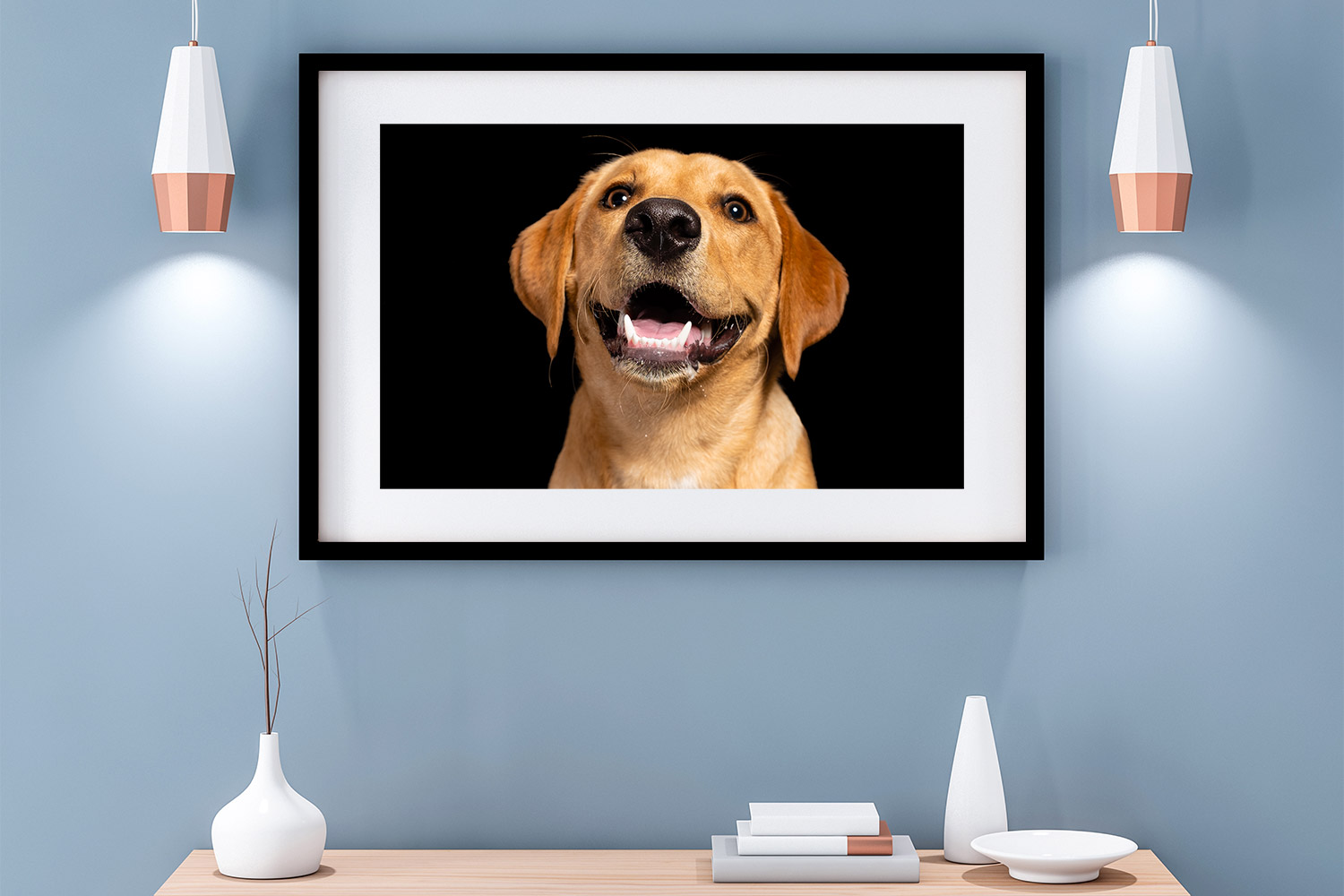 Contemporary room set with Labrador dog photography wall art