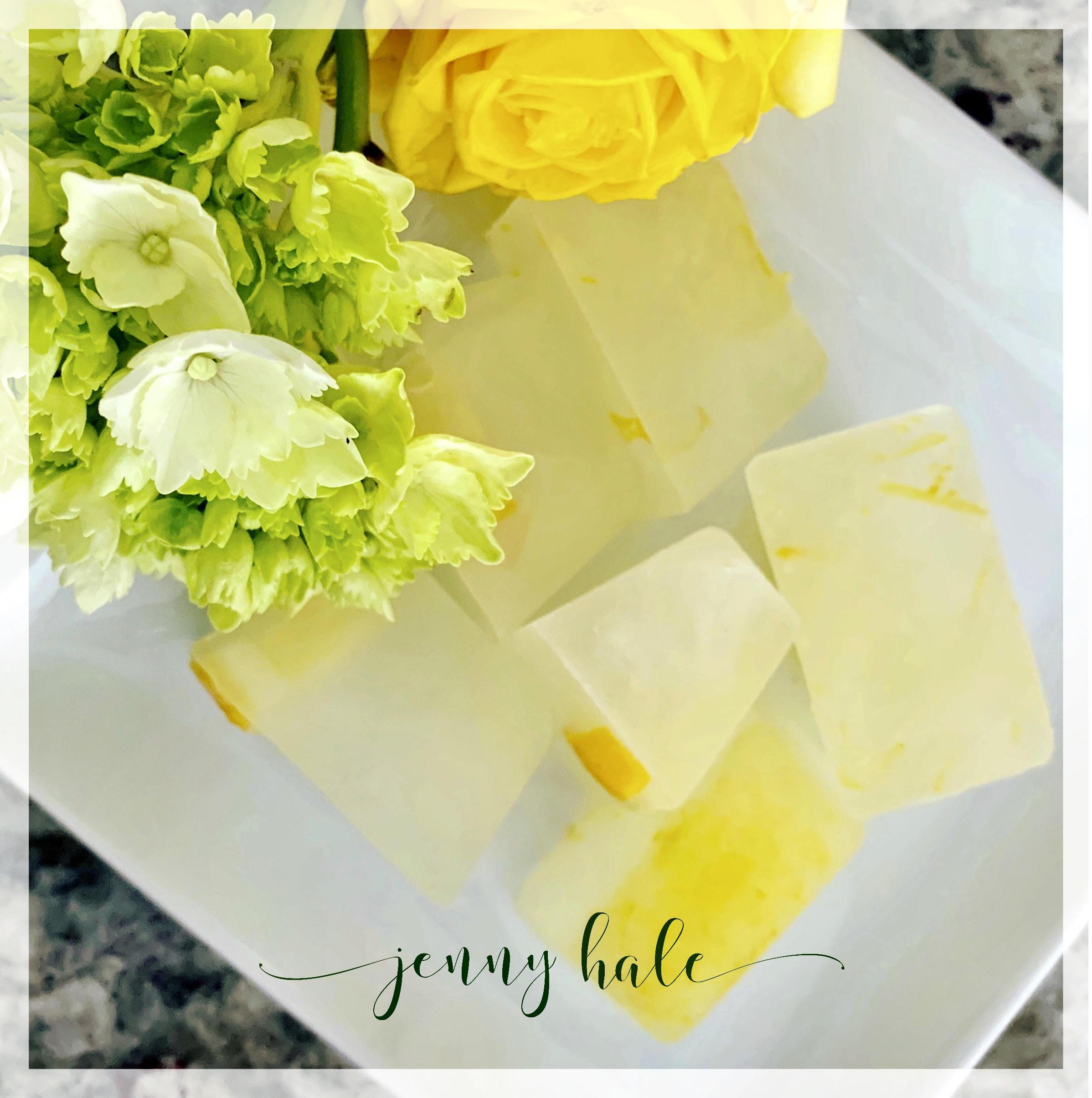 Lemonade ice cubes with lemon slices and zest jazz up even the fanciest lemonade!