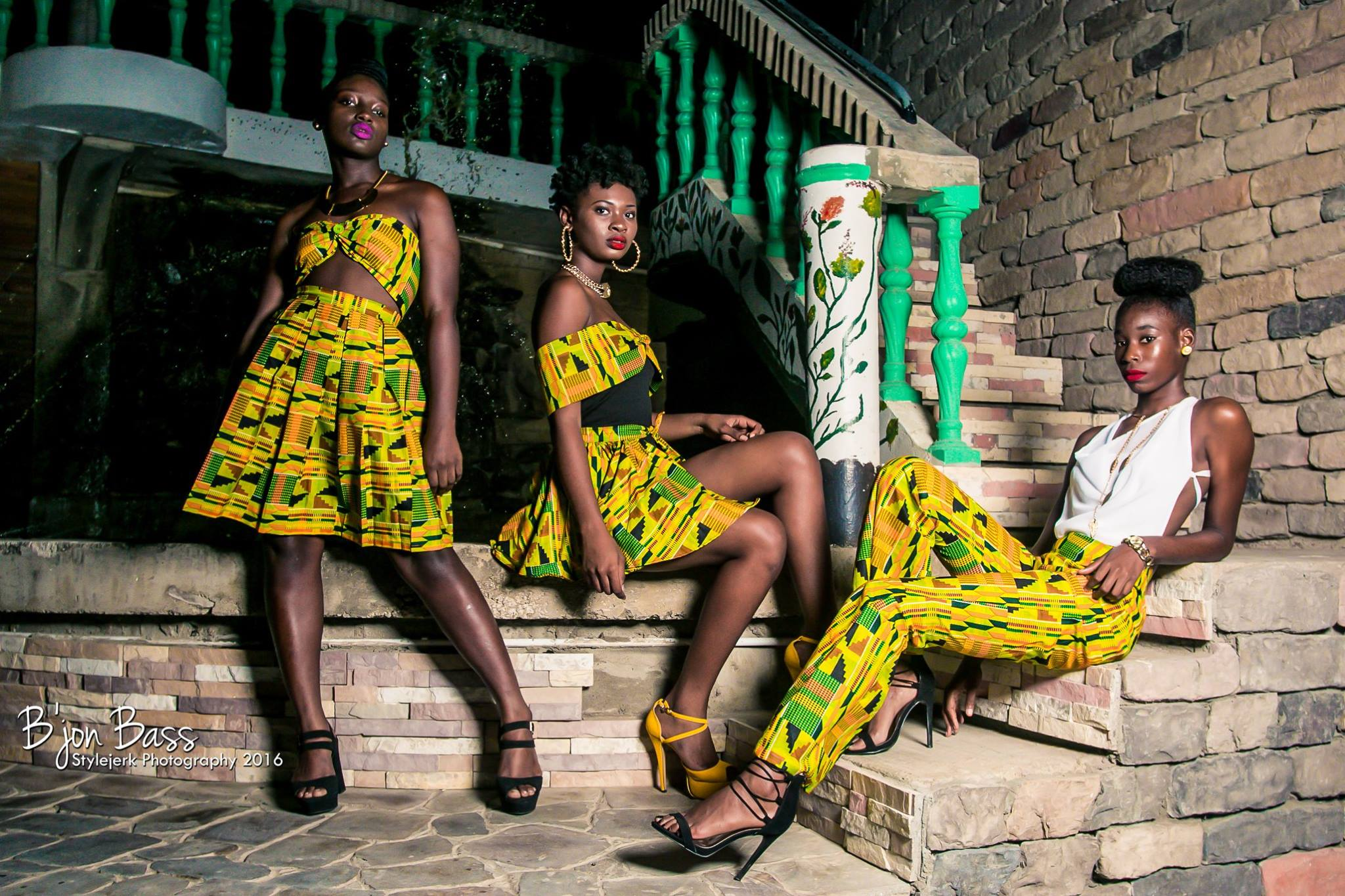 Models pose in designs from Iridescent Fashion's Nubian Goddess collection. (Courtesy of Shavaniece Lake and Keanna Ible)