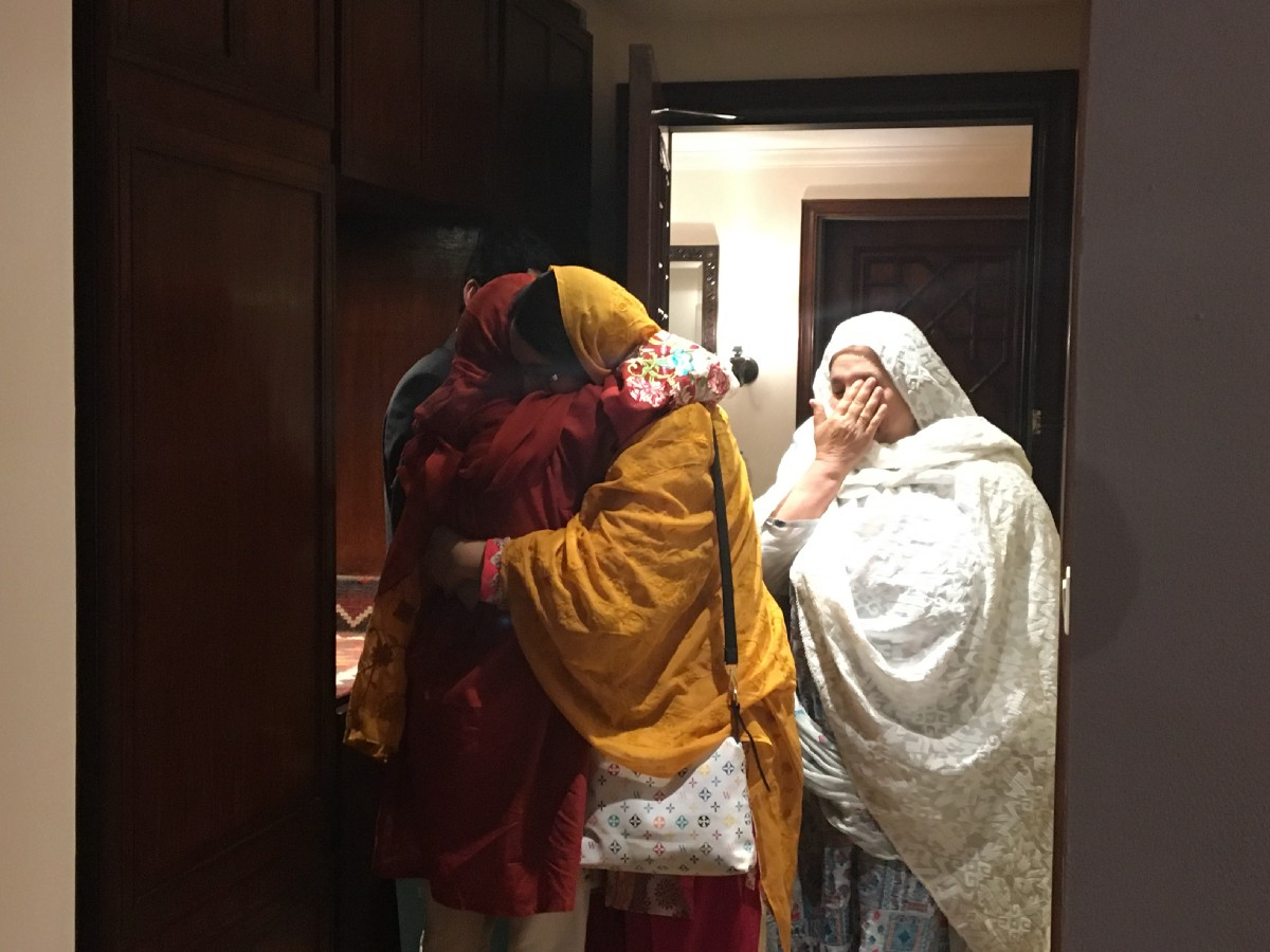 Malala and her best friend Moniba reunited in Pakistan. (Courtesy of Farah Mohamed / Malala Fund)