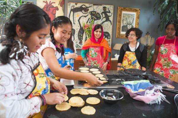 Sydney and Alma preparing a traditional Mexican cooking class. (Courtesy of Alicia Vera/Malala Fund)