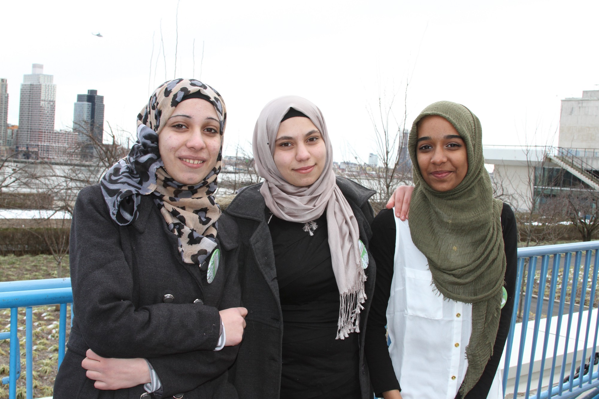 Syrian refugees Ola and Batoul with their friend Esrah outside the United Nations. The girls joined Malala Fund at an event during the Commission on the Status of Women Youth Forum.