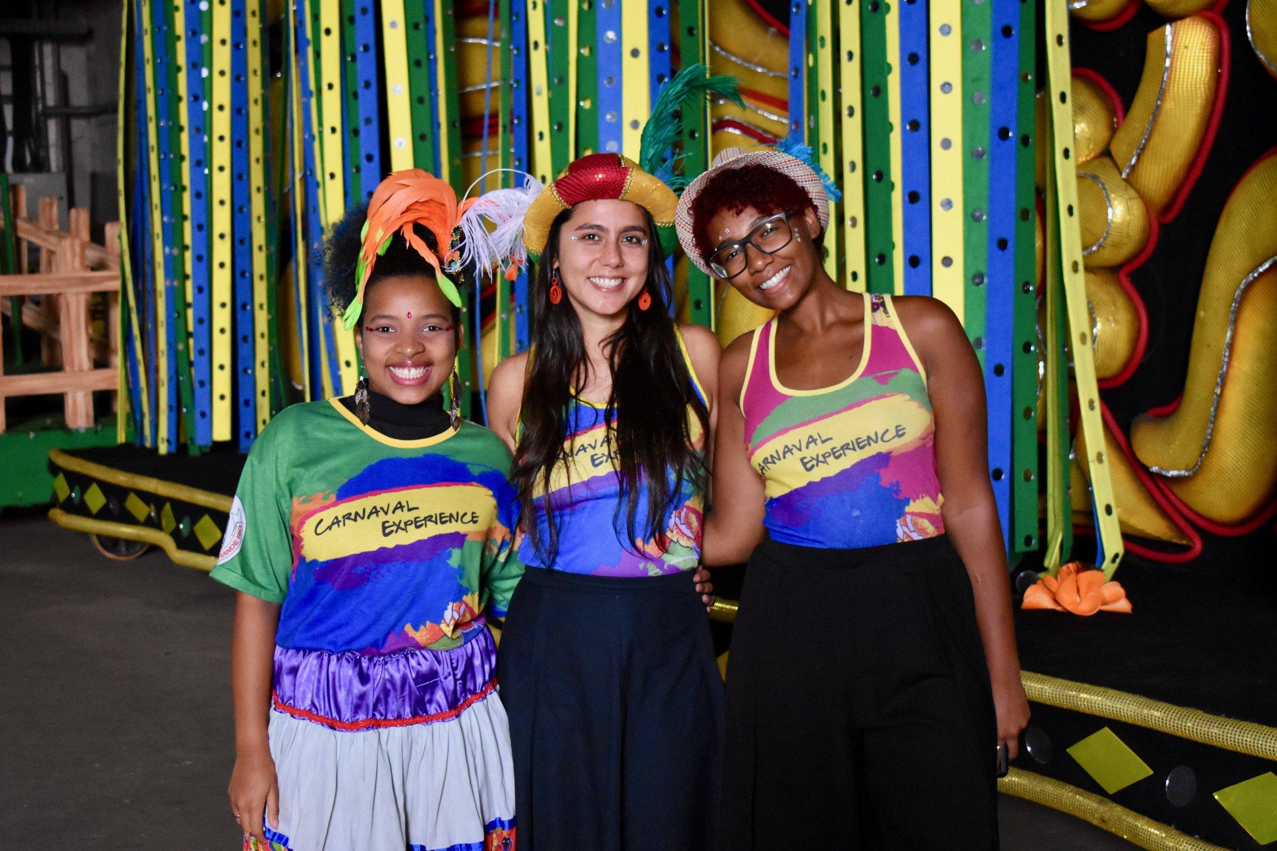 Dondara with King and Camilla Soares, President of the Pimpolhos da Grande Rio Samba School.(Courtesy of Tess Thomas / Malala Fund)