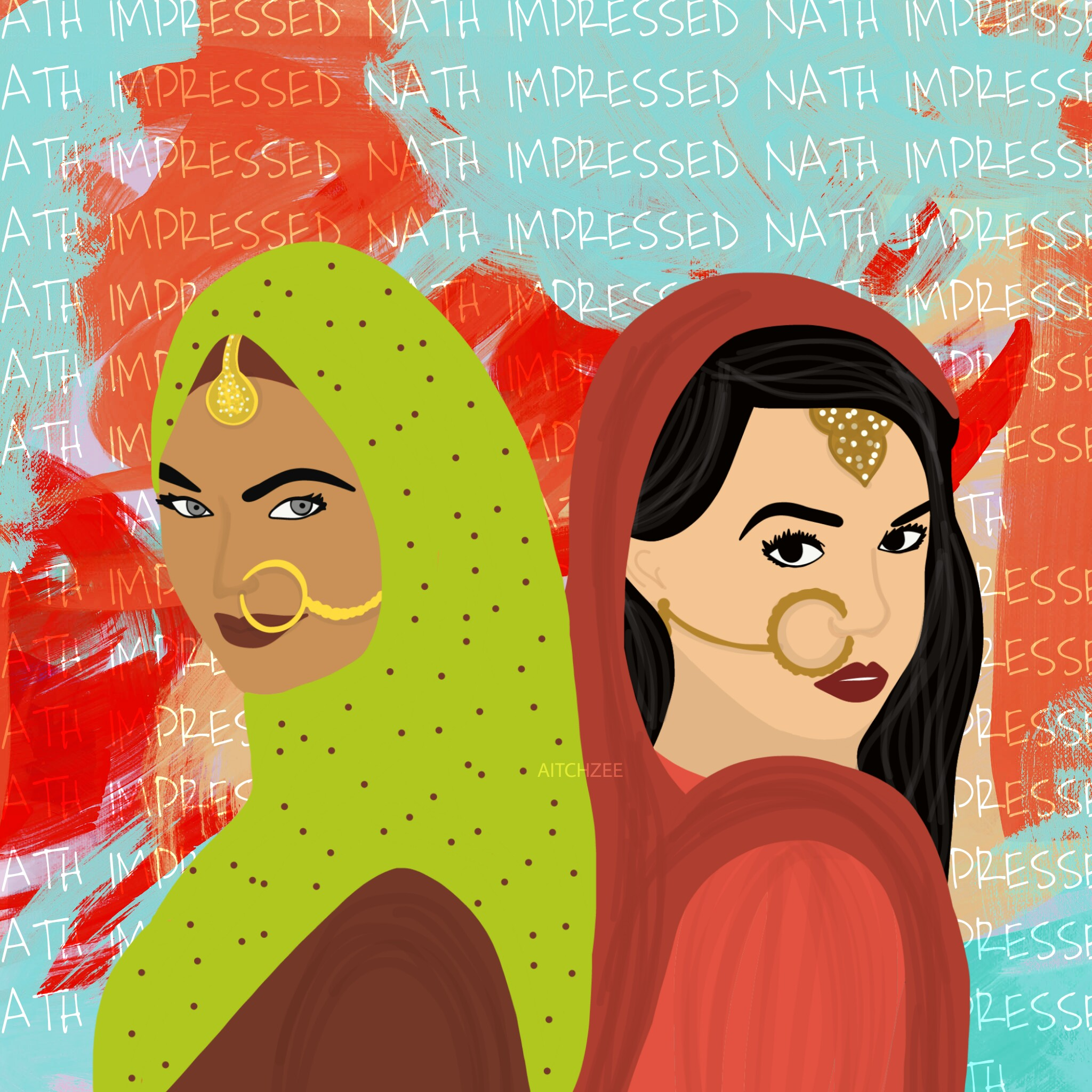 #NATHimpressed is an illustration made in response to commercialisation and appropriation of South Asian culture. (Courtesy of  @aitchzee  / Instagram)