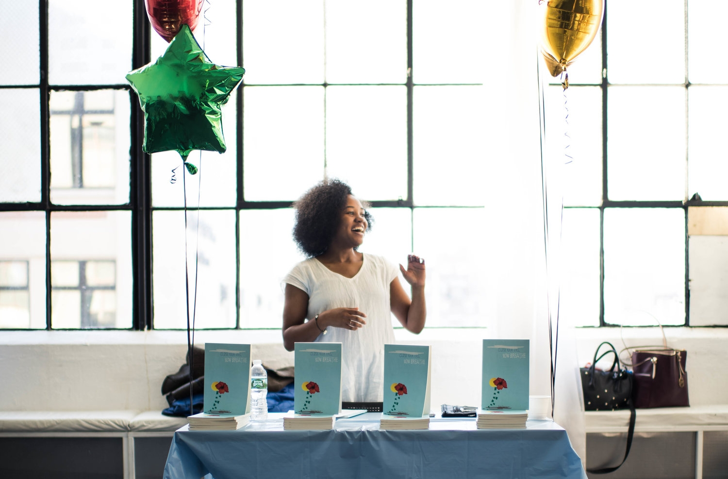 "Flose at the release party for her first book,  ""Close Your Eyes, Now Breathe ."" (Courtesy of Reece T. Williams)"