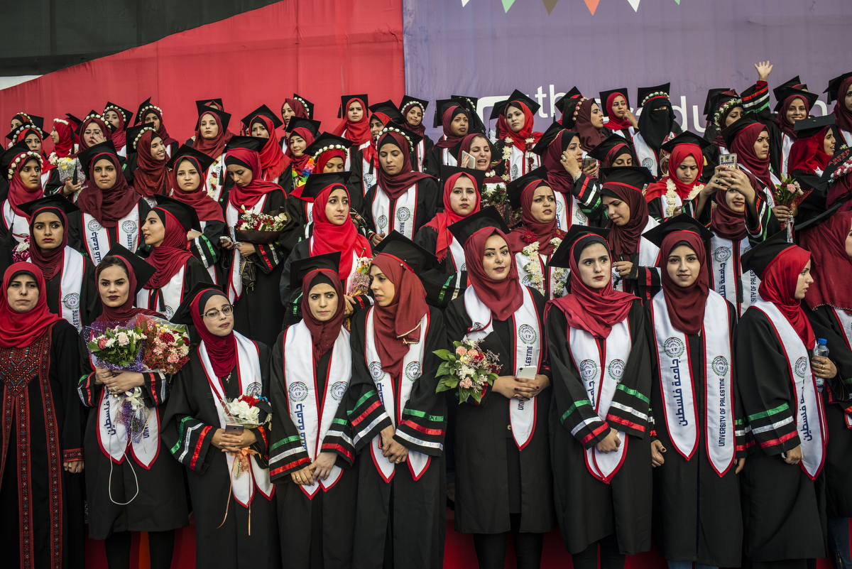 Graduating class, Palestine University. (Courtesy of Monique Jacques)