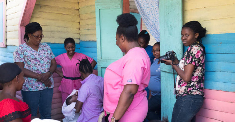 Phalonne Pierre Louis on assignment for Midwives for Haiti (Courtesy of Midwives for Haiti)