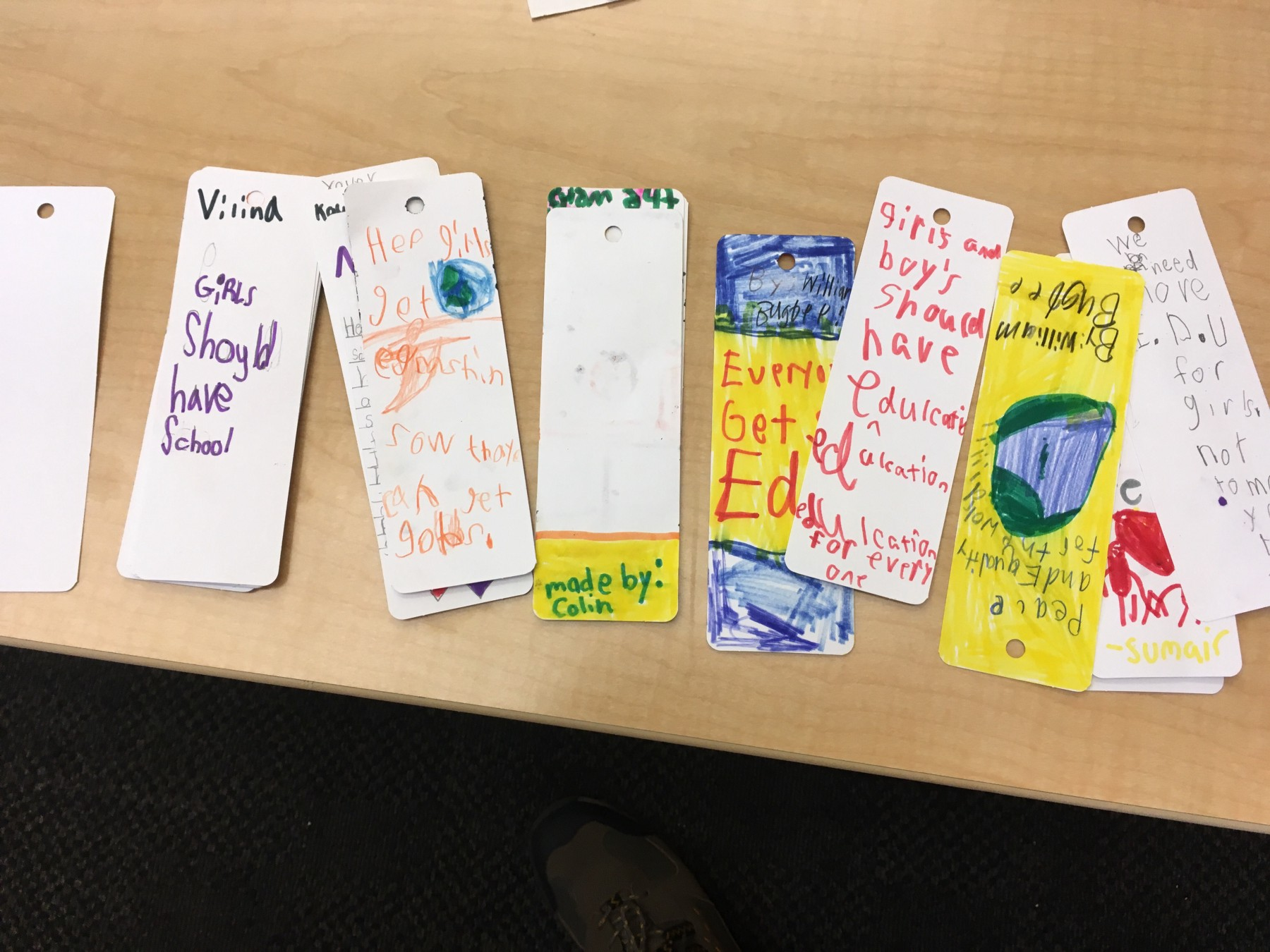 A sampling of the bookmark submissions. (Courtesy of Anya Sen)