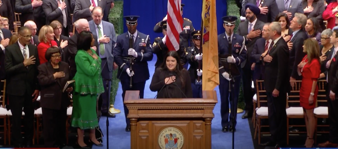 Sara leads the Pledge of Allegiance at the inauguration of Governor Phil Murphy. (Courtesy of Sara Mora)