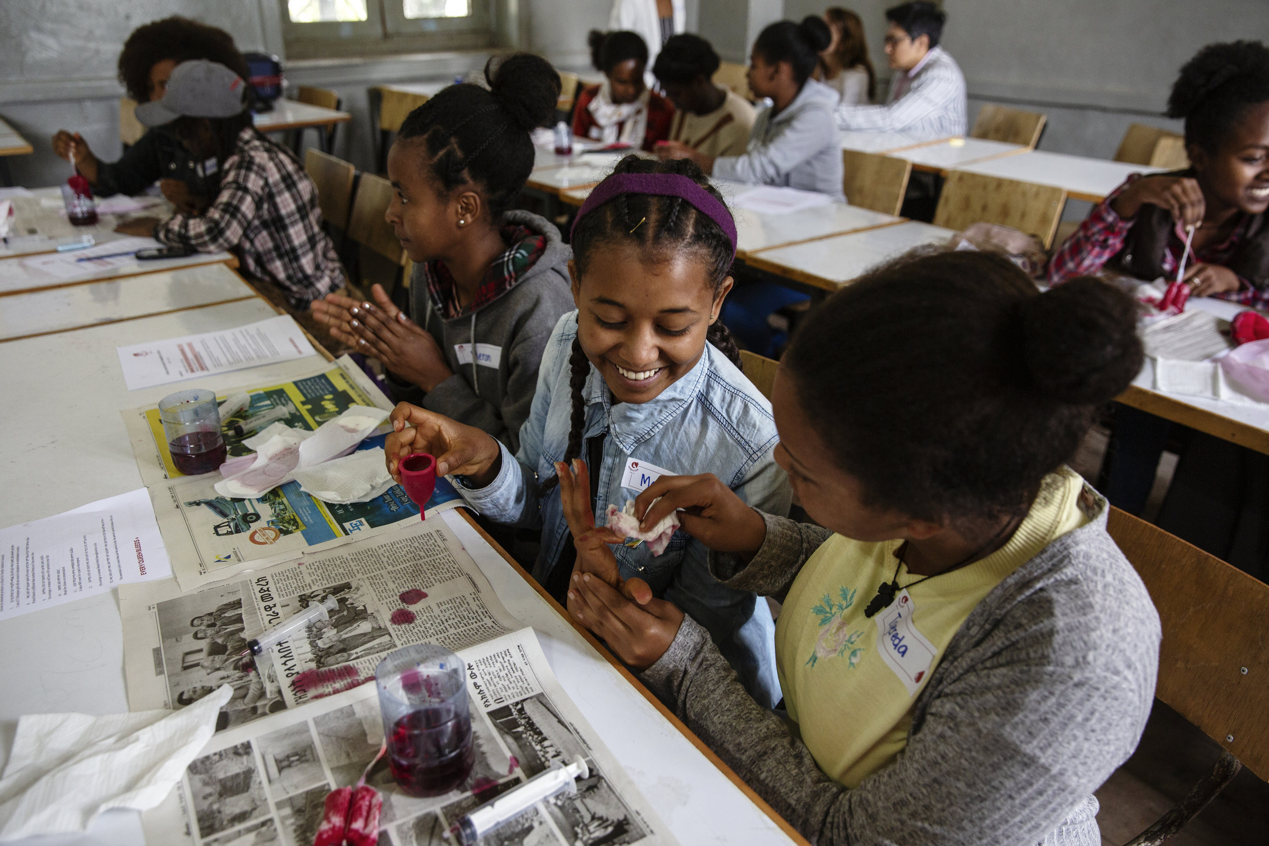 Through interactive workshops, Noble Cup teaches girls in Ethiopia about their reproductive systems, cycles and cramps. (Courtesy of Malin Fezehai / Malala Fund)