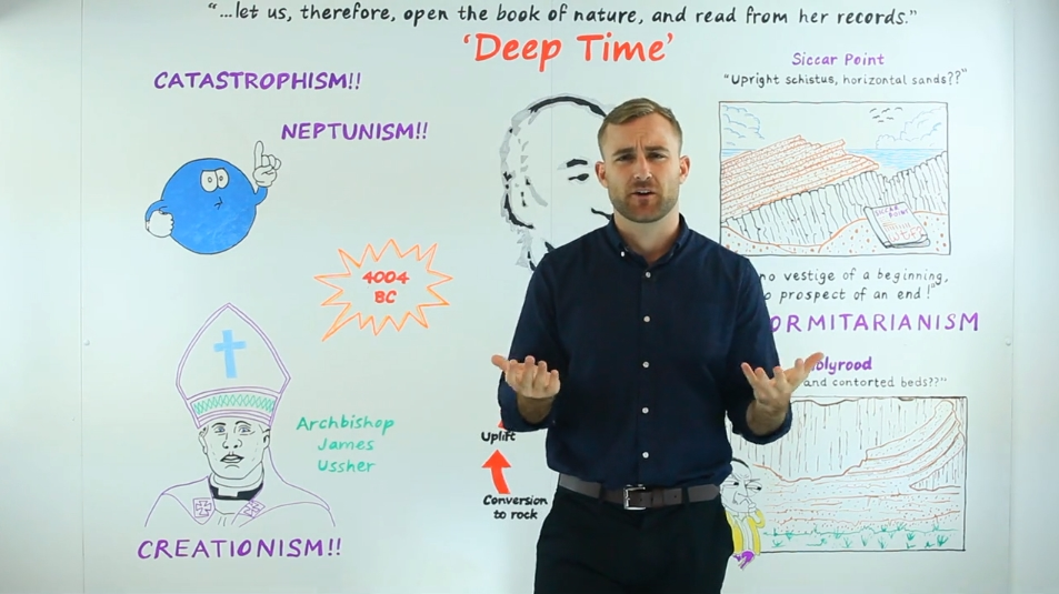 JAMES HUTTON'S DEEP TIME - Keegan is at the Whiteboard for the first time, looking into the thought processes of James Hutton, the man who coined the term
