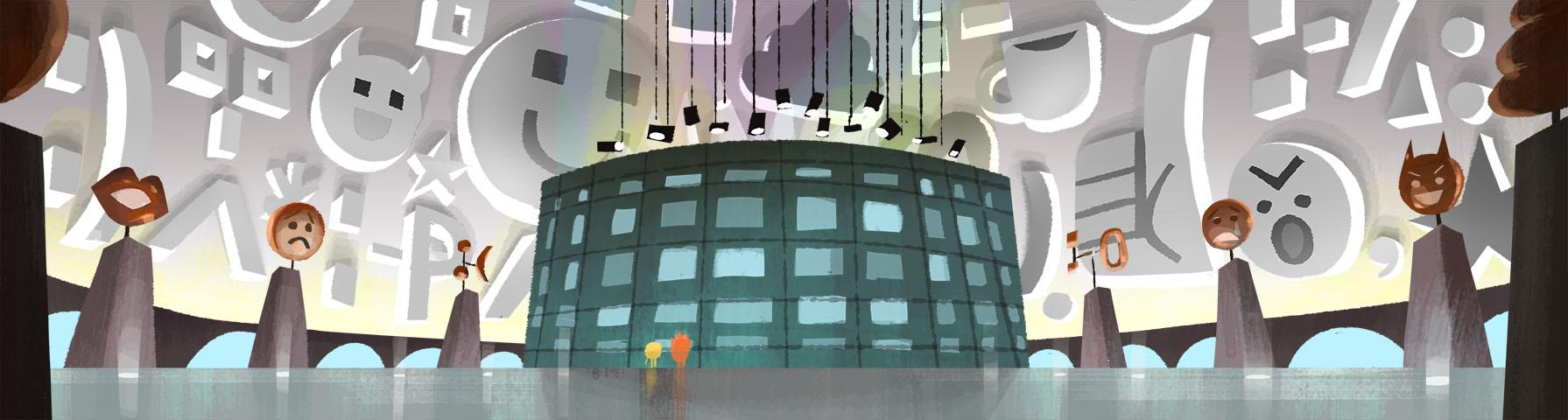 Interior of Emoji workspace building