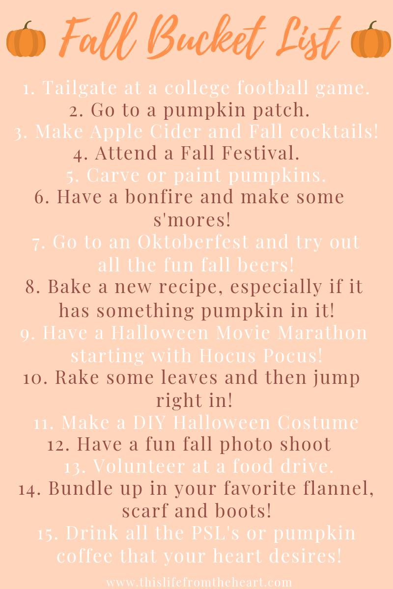 fall bucket list+fall favorites+pumpkin spice+allthingsfall