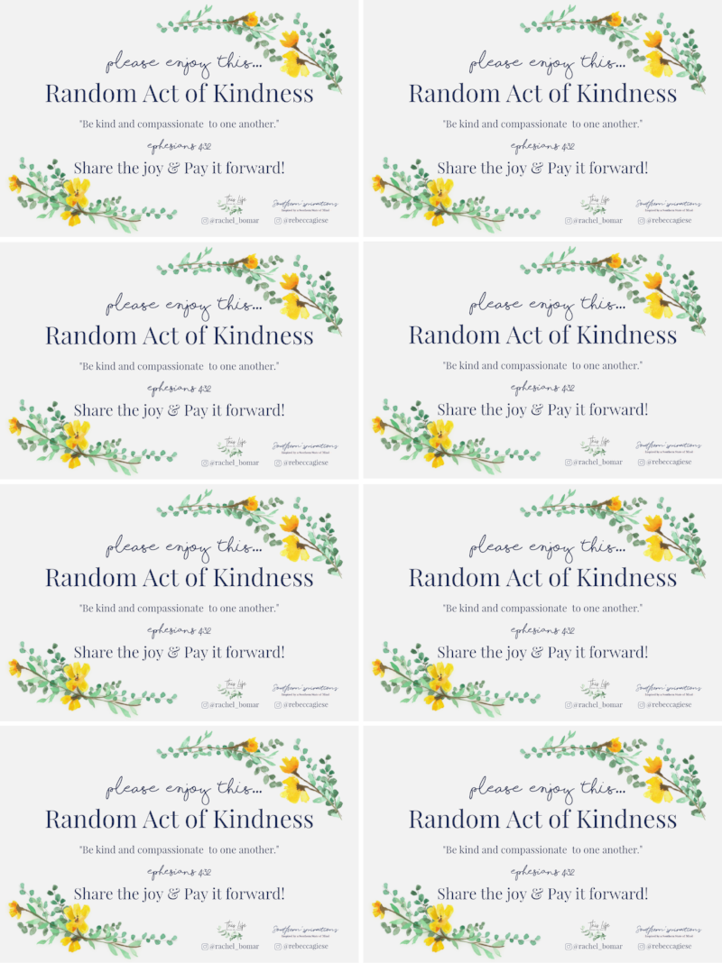 random acts of kindness + spread kindness + kindness challenge