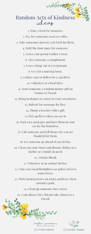 Random acts of kindness list + spreading kindness