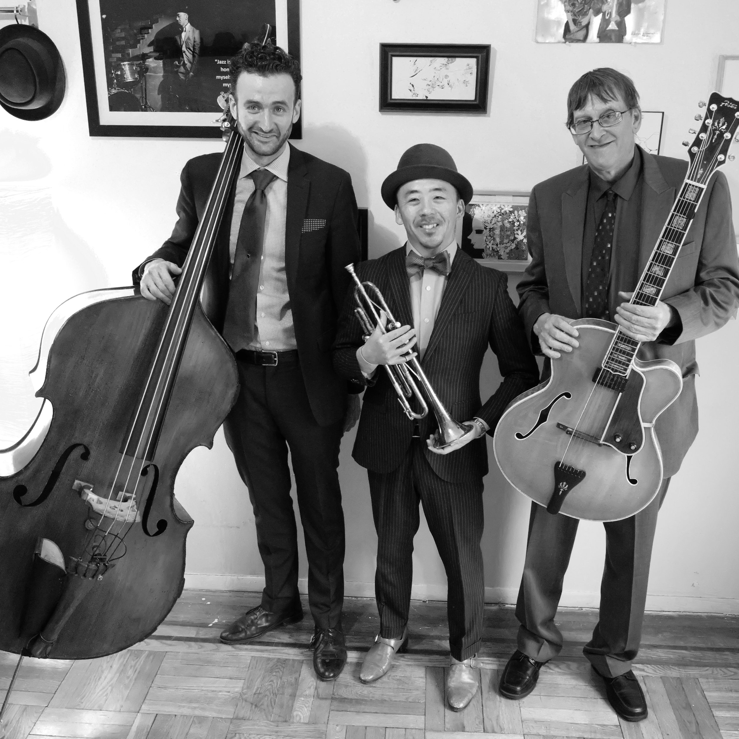 The B# Trio   Upbeat jazz favorites from the 1930s and 40s  →  Book the B# Trio  →  Learn More