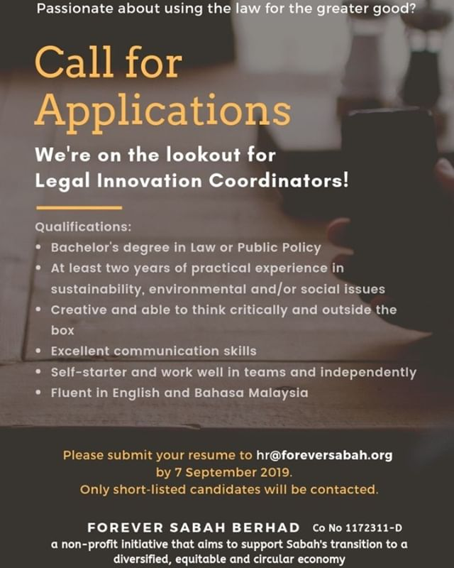 🔊 Our close partner @foreversabah is #hiring!! We are thrilled to share this call for applications for Legal Innovation Coordinators. This is an exciting opportunity for self-starters with a keen interest in using the #law for the greater good and growing their #leadership potential within a dynamic organisation. Please share with friends, mentors and broader networks to help FS find the best candidates! Deadline 7 September. 🌱 ⚖ ----------- #jobs #jobsearch #vacancy #applynow #malaysia #lawyers #lawyerlife