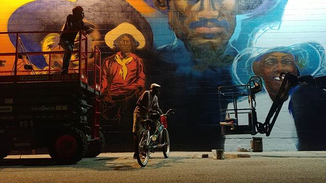 Feeling like I'm @titusbrooksheagins  right now!!!😎 all pics by me, enjoy the magic of this piece all lit up at night!  And a reminder for THIS Saturday: Calling all Cowboys/Cowgirls for a photo shoot! Artist @darecoulter partnered w/ Kotis Street Art to create a 200ft mural honoring black cowboys. Join us on Aug 10th & let us honor u too! Coulter, Kotis & Black Country Productions are inviting you (in full gear) to take a beautiful photo of black excellence in front of the mural. Horses are welcome. The event is open to everyone, no matter race! Saturday, August 10, 2019.  Arrive @ 9:30AM. Photo shoot @ 10AM. Please register via eventbrite.  https://www.eventbrite.com/e/black-cowboys-photo-op-at-mural-in-greensboro-tickets-67403145623  The mural is painted on the side of a Roses department store.  Address: 1421 E Cone Blvd, Greensboro, NC, 27405. #blackcountry #streetmural #streetmurals #artist #blackcowboys #blackcowgirls #blackcountryproductions #darecoulter #BlackCowboysGSO #KotisStreetArt #murales #murals #greensboronc #blackcowboys #streetphotography #candidshot #portraiture #portraitphotography #billPickett #rodeo  #billpickettrodeo #buffalosoldiers  #horses  @kotisstreetart all of these magic moments.....thanks so much for all it took to make them happen 💛