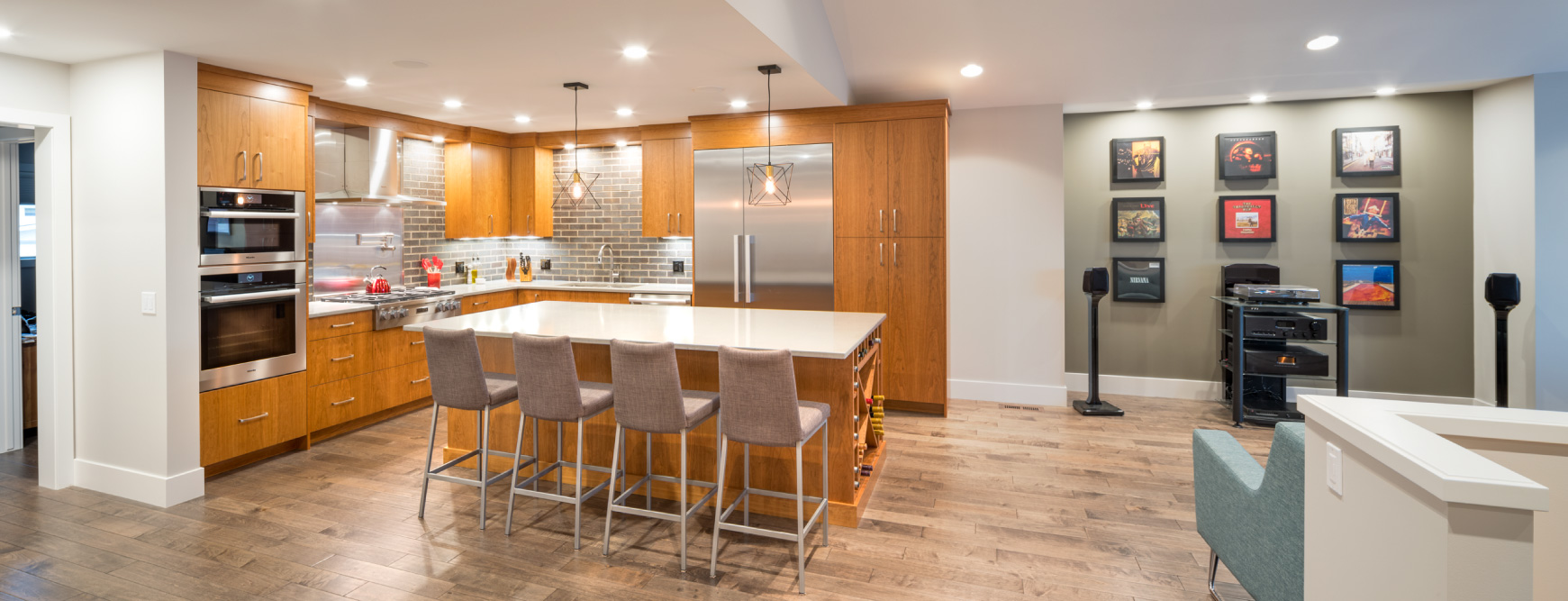 Award-winning Calgary kitchen renovation with custom cherry cabinets and quartz countertops.