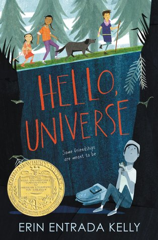 Hooray for Erin Entrada Kelly!  Hello, Universe  is the 2018 Newbery Medal winner. Told from four intertwining points of view—two boys and two girls—the novel celebrates bravery, being different, and finding your inner  bayani  (hero).