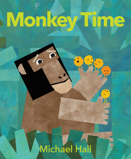 """""""A simple treatise on time for very young children as well as a counting book. . . .Hall's trademark painted and cut-paper illustrations in bright green, blue, red, and yellow with brown monkey in the center are striking. . . .This entertaining story will reinforce counting skills while teaching youngsters a bit about time.""""—  ALA Booklist  (starred review)"""