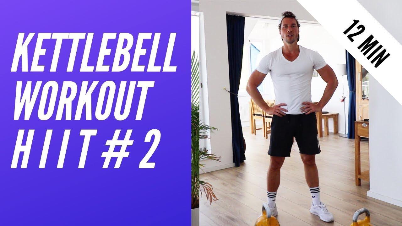 Kettlebell HIIT - Ziel: Fettverbrennung und KonditionLevel: FortgeschritteneDauer: 12 MinutenTrainingsgerät: 2 Kettlebells