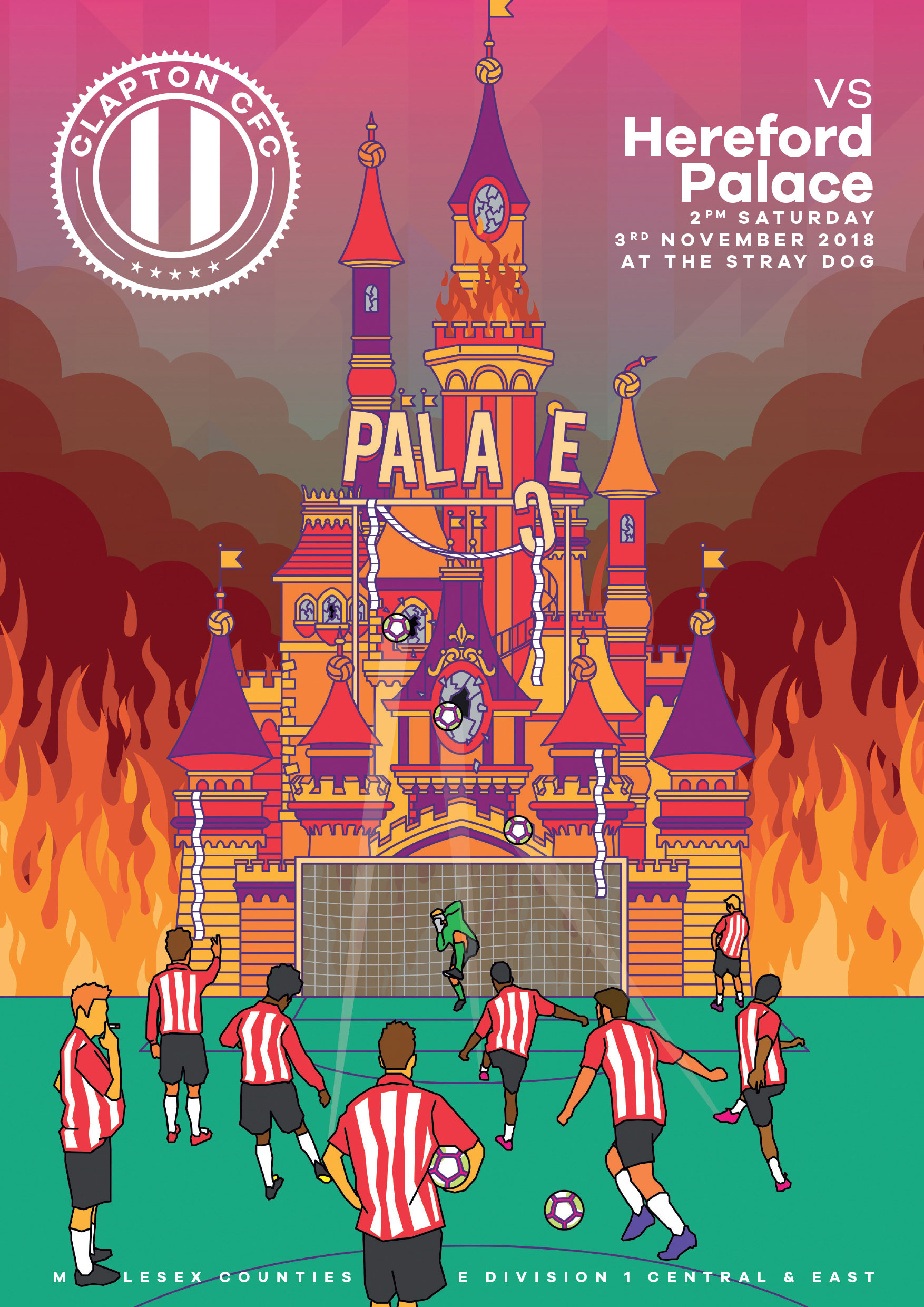 Cover illustration for the Clapton CFC vs Hereford Palace match day programme