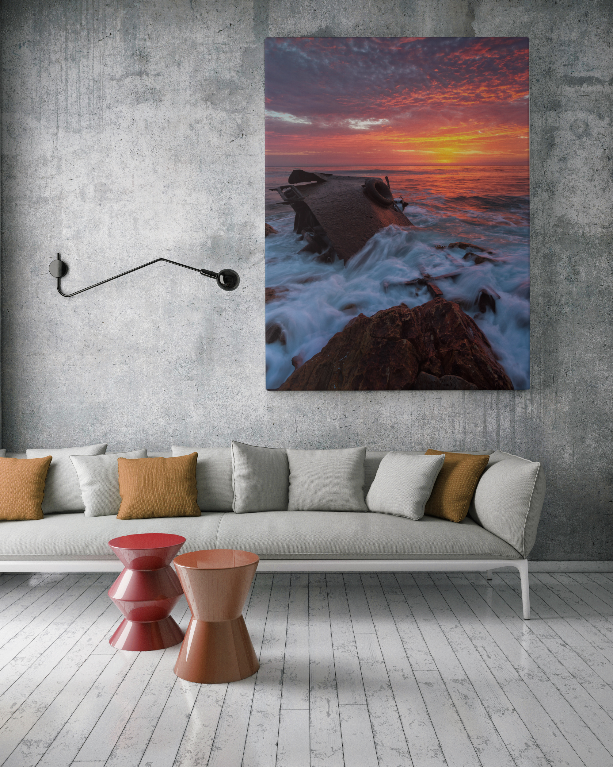 mock up poster with vintage hipster loft interior background, 3D