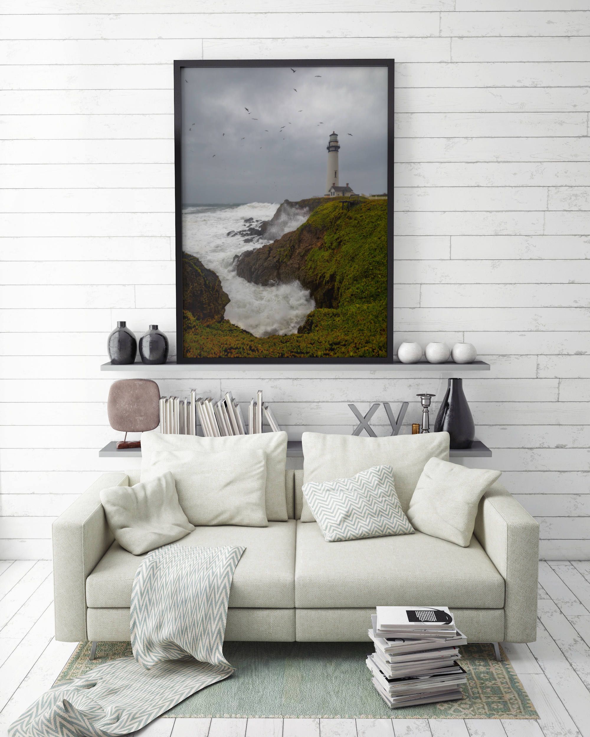 mock up poster frame in hipster interior background, 3D render