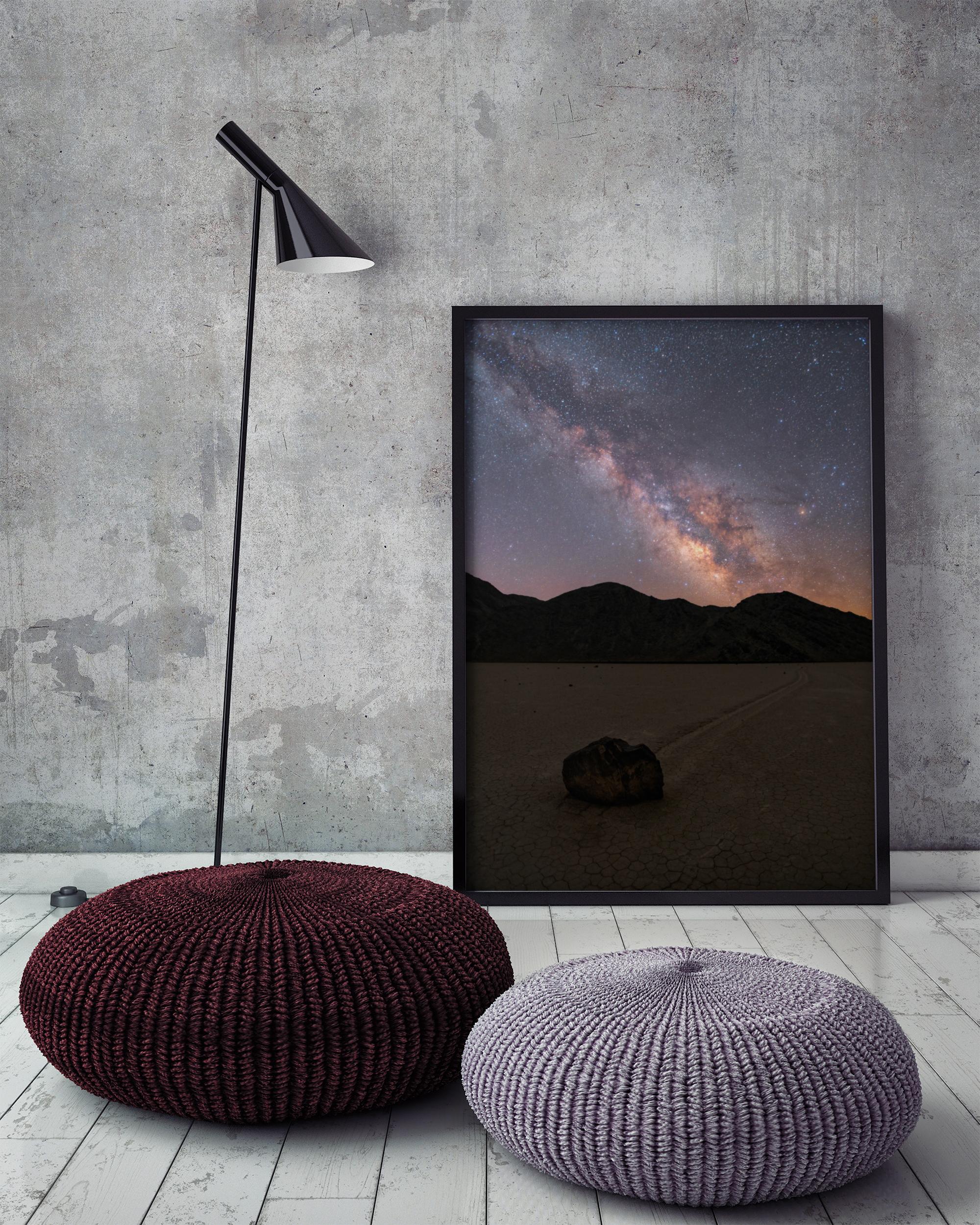 mock up poster frame in hipster interior background