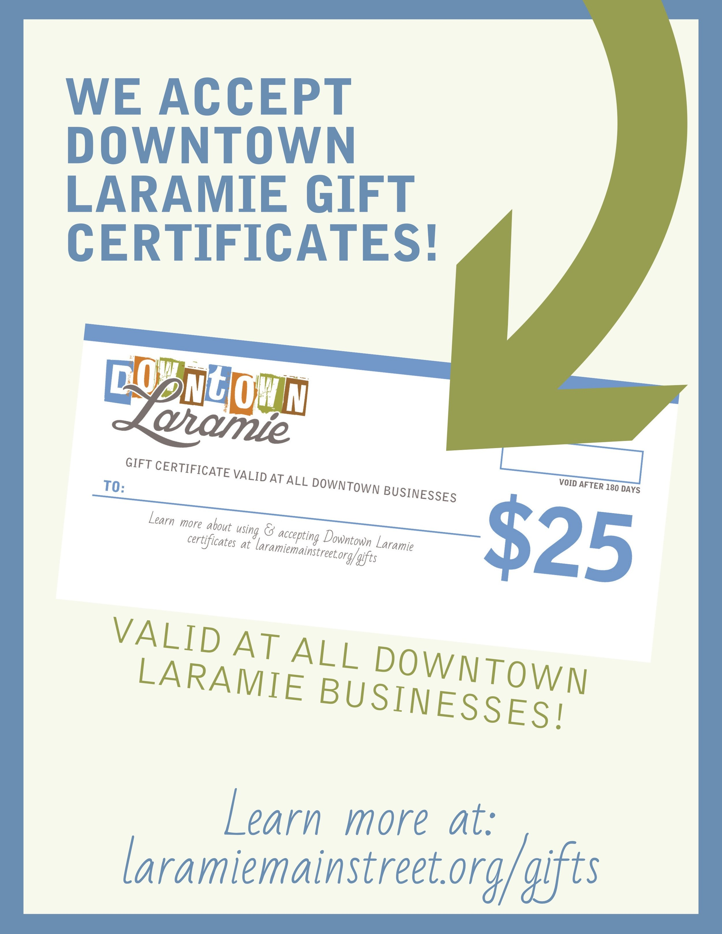 Downtown Laramie Wyoming Gift Certificates
