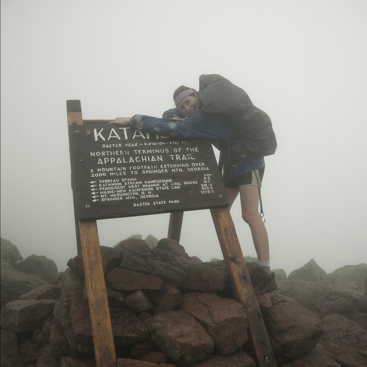 Melissa at the end of her 2,181-mile Appalachian Trail journey, Sept. 5, 2011.