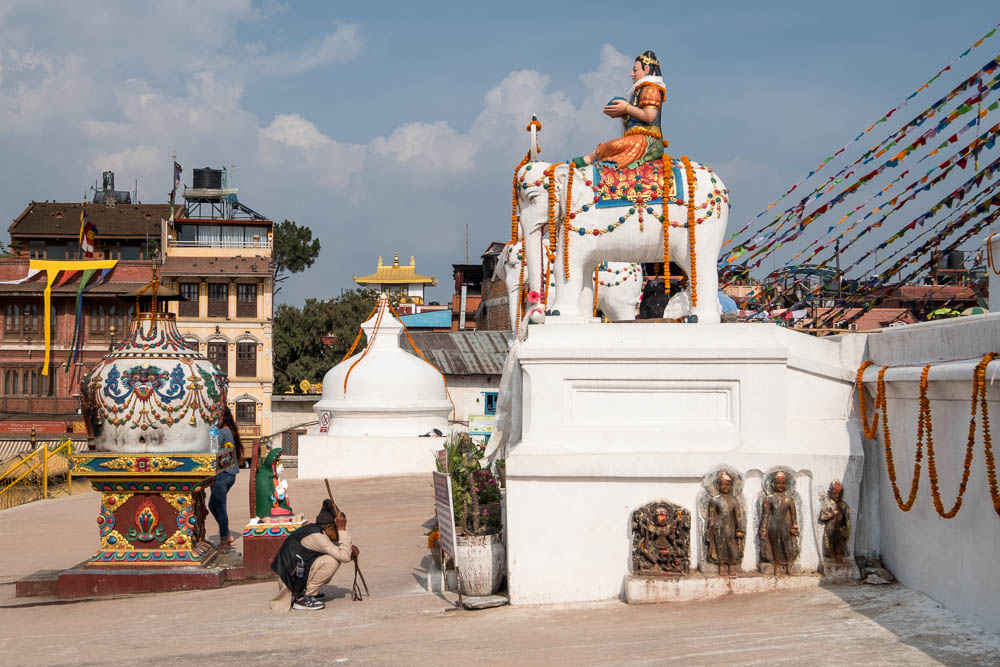 Elephant statue at the Boudhanath Stupa, Kathmandu, Nepal.
