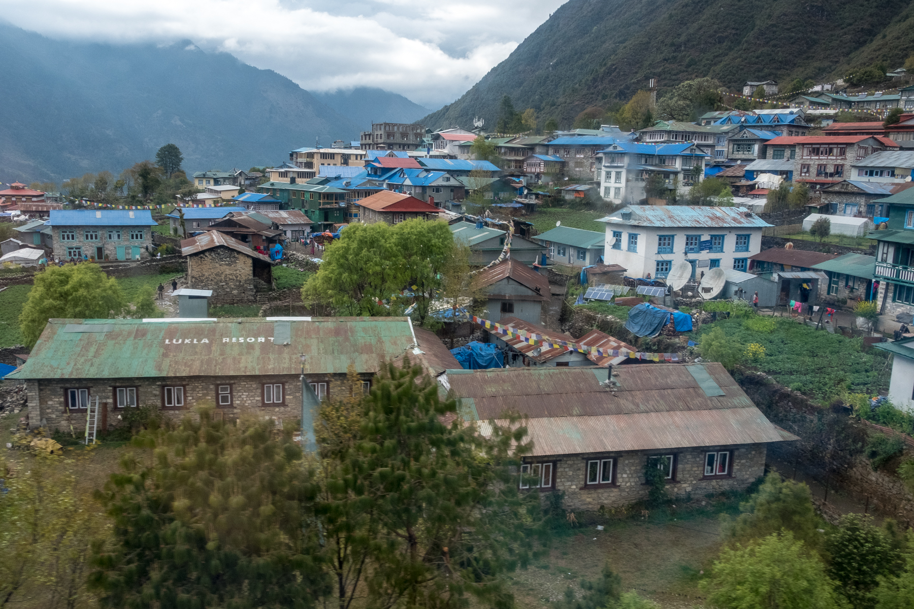 Views of Lukla during helicopter landing at Lukla Airport, Nepal.