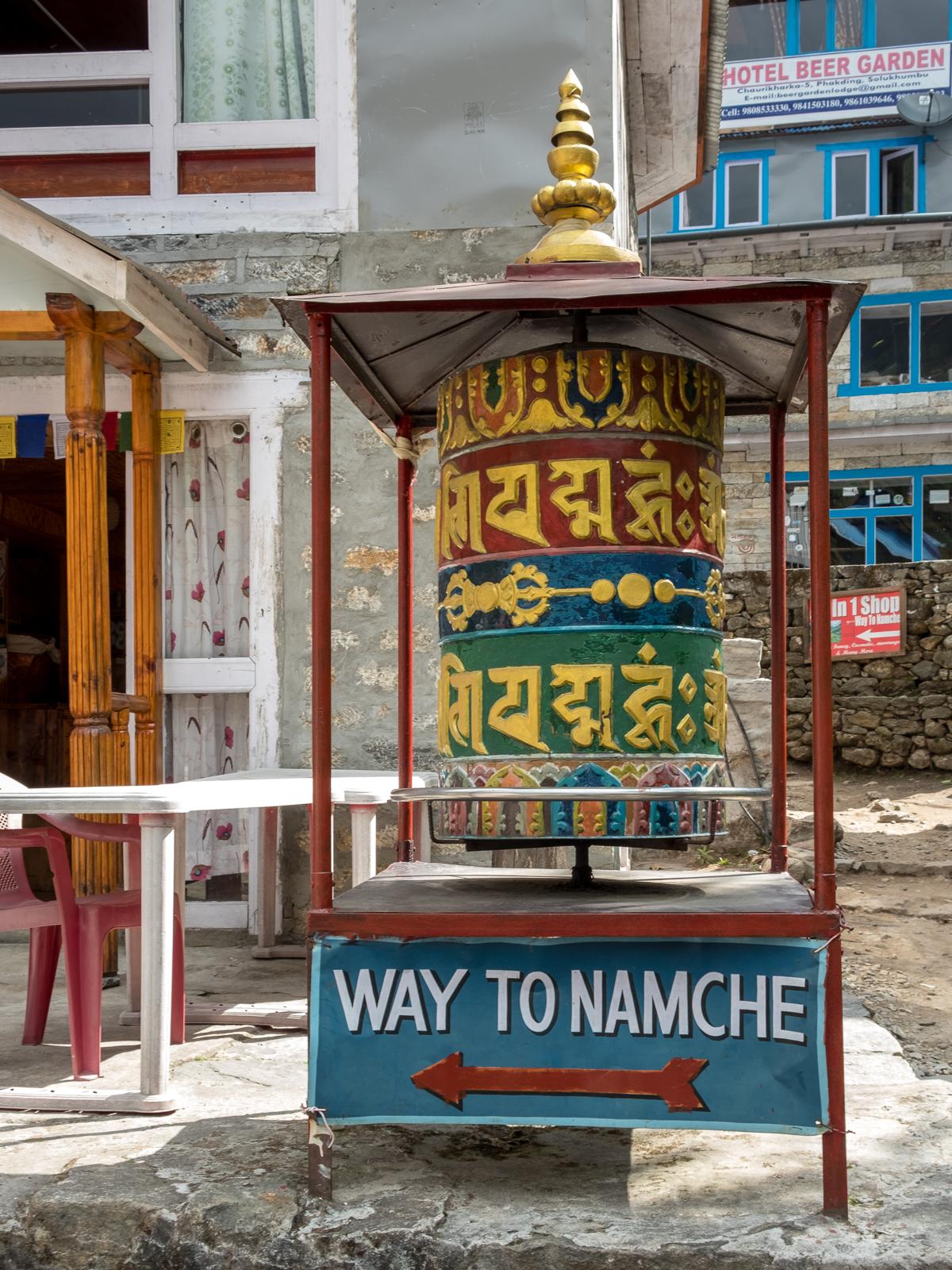 Buddhist prayer wheel, Phakding, Nepal.