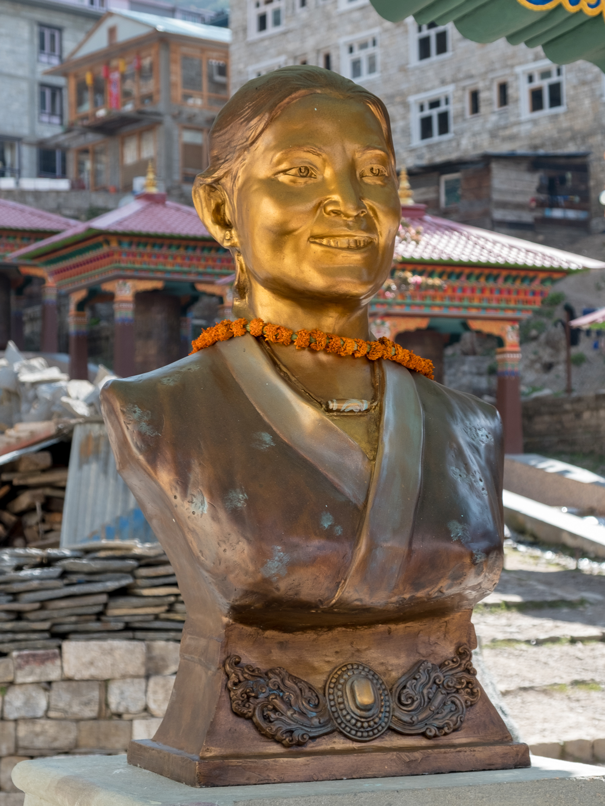 Statue of Pasang Lhamu Sherpa, the first Nepali woman to summit Everest, in Namche Bazaar.