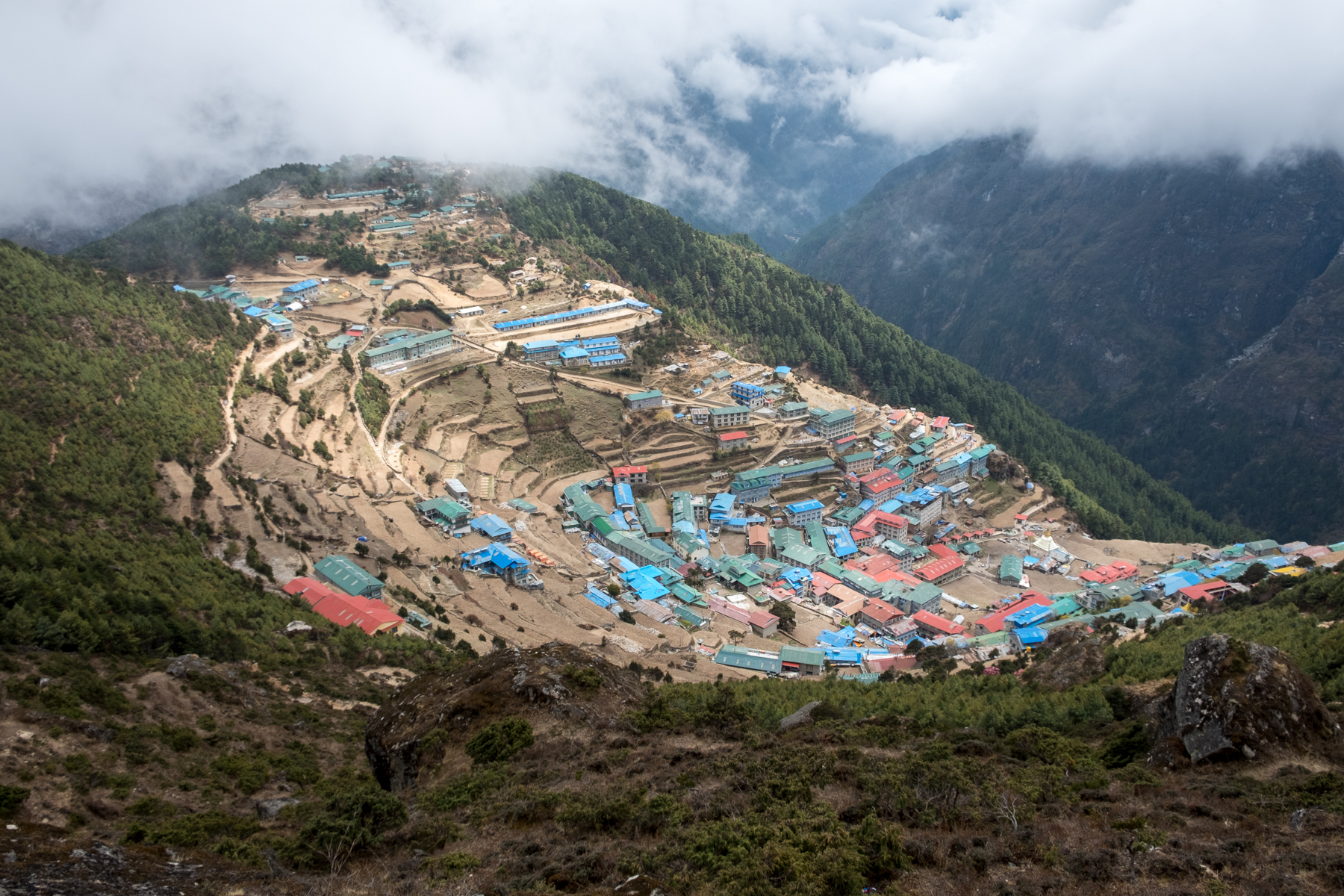 Namche Bazzar, Nepal, as seen from above.